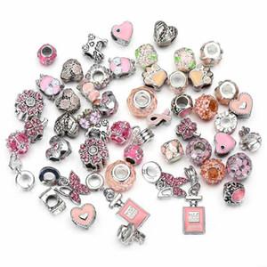 50 adet çok Karışık pembe Tema Kolye Charm Gümüş Avrupa Charms Boncuk Fit Pandora Bilezikler Yılan Zincir Moda DIY takı