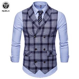 RUELK 2018 uomini Business Casual Gilet Slim Fit senza maniche Tops profondo scollo a V Colore Spesso strisce del vestito della maglia risvolto Suit Vest