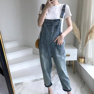 Casual Loose Danim Overalls for Women 2020 New Lady Blue Pockets Denim Overall Jumpsuit Rompers Femme Ninth Pants Female Pants
