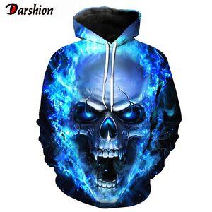 3D Hoodies Sweatshirt Women Men Ghost Fire Skull Print Hip Hop Pullover Hoody Sweatshirts Autumn Winter Top Dropshipping