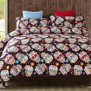Sugar Skull Bedding Set Skulls Floral Printed Quilt Duvet Cover Pillowcases Single Queen King Size Bedlinen Dropshipping
