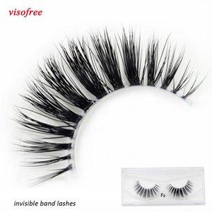 Visofree Mink Eyelashes Clear Band Eye Lashes Crisscross Transparent Band False Eyelashes Handmade Dramatic Lashes Upper Lash F9