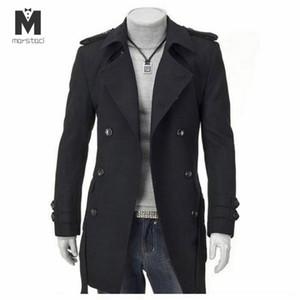 Marstaci 남성 겨울 긴 더블 브레스트 양모 두꺼운 솔리드 컬러 따뜻한 슬림 스탠드 칼라 고품질 도시 울 혼합 코트
