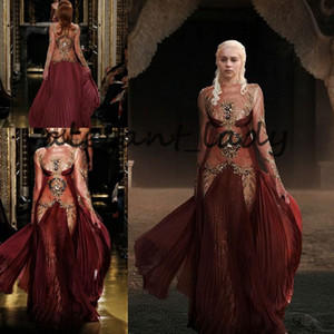 Daenerys Targaryen in Zuhair Murad Evening Formal Dresses with Long Sleeve Burgundy Lace Gold Detail Occasion Prom Dress with Ribbon