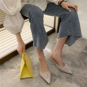 Low Shoes Ladies' Slippers Pointed Toe Thin Heels Slipers Women Heeled Mules Luxury Slides Summer 2020 High Designer Cover