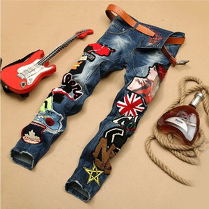 2019 new hot beauty embroidery men's jeans tide male stitching badge jeans fashion punk motorcycle denim pants