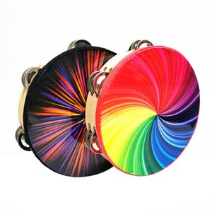 8 pulgadas Instrumentos de percusión de dos hileras de color del arco iris pandereta pandereta pandereta deslumbrante Negro Rendimiento Etapa musical