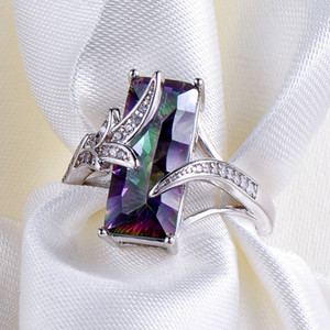 Hot Selling 925 Sterling Silver Rainbow Mystic Topaz CZ Ring Engagement Wedding Jewelry Gift For Womens