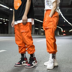 Street baggy pants men and women hip hop pants harlan breeches nine-cent straight leg breeches plain color pocket edges trousers