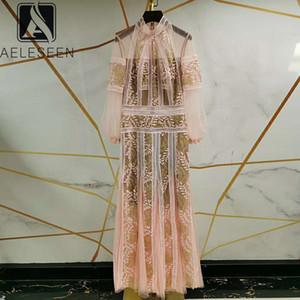 AELESEEN Luxus-Partei-Kleid-Frauen 2020 Runway Fashion Laterne Hülsen-Blumen-Stickerei plus Größen Ferienmaxikleid Vestidos