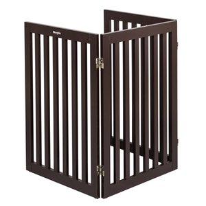 Three Panels Wood Pet Gate Folding Cat Pet Dog Barrier Wooden Safety Gate Expanding Puppy Fence Door Stretchable Wooden Fence