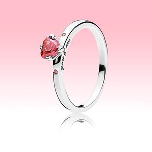 Sparkling Red Heart Ring Women CZ diamond Wedding Jewelry for Pandora 925 Sterling Silver Love hearts RING with Original box