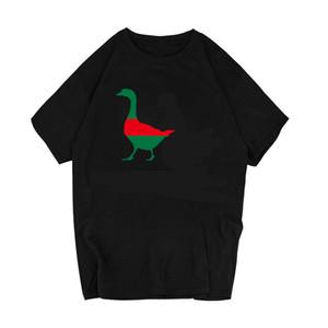 귀여운 두 거위 Ga 인쇄 여름 남성 / 여성 Tshirt 캐주얼 Hispter 미적 옷 목 동물 인쇄 짧은 소매 뜨거운 판매