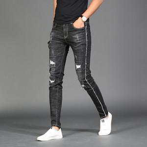 ممزق 2020 الصيف الأسود جينز للرجال صالح سليم على التوالى على سروال جينز أزياء الشارع الشهير الجانب الشريط الخام Selvedge تمتد جان