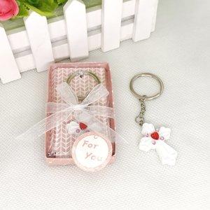 무료 배송 선물 상자에 아기 Christening 공짜 십자가 키 체인 찌찌 열쇠 고리 웨딩 호의 W9573