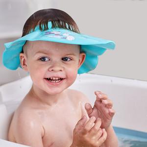 Bebek Ücretsiz Nakliye için Çocuk Duş Cap Yumuşak EVA Ayarlanabilir Bebek Komik Yıkanma Şampuan Koruma Şapka Çocuk Saç kesimi Emniyet Cap Siperlik