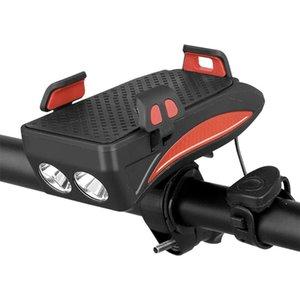 Armação de Bicicleta Luz Mobile Phone Hodler Ciclismo Frente Luz 130db Chifre da bicicleta Farol Telefone Charge Pal