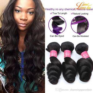 7A Best Quality Brazilian Virgin Hair Loose weave Cheap Peruvian Malaysian Virgin Remy Human Hair 3  4Bundles Lot Double Weft Hair Weaves