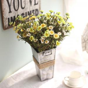 Flores artificiales de seda falso flor de la margarita Ramo Flores Artificiales Para Decoracion Hogar secada florece decorativo para la boda EEA276