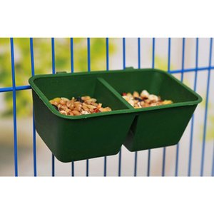 Green 2 In 1 Practical Pet Supplies Bird Accessories Dual Feeding Plastic Water Parrot Food Bowl