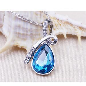 New Vintage Saphire Bijoux Creative style dames amour dérive bouteilles collier en cristal Blue Drop Charm Pendentif collier pour femme