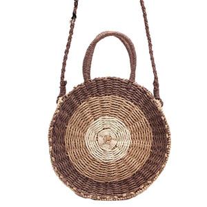 Round Straw Bag Handmade Rattan Woven New Straw Rope Knitted Women Crossbody Handbag Fresh Summer Beach Bag Bohemia H265