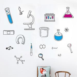 Cartoon Chemie Experiment Werkzeugwand-Aufkleber-Kind-Raum Schlafzimmer Hintergrund Dekorationen Mural Laboratory Aufkleber Tapete