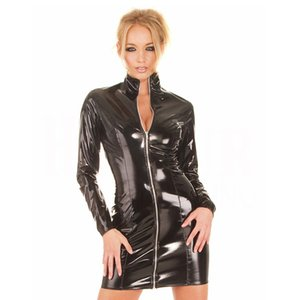 Nightclub sexy adult female stand-up collar long-sleeved dress PVC leather skirt front zipper bag arm skirt ds costumes