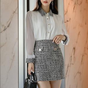 Femmes coréenne style élégant 2 costumes Pièces de préparation à la White Collar Chemises et la gaine moulante jupes courtes OL Set travail