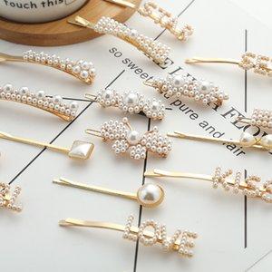 Элегантный Clips Pearls Женщина Шпильки для волос Письма Rhinestone заколок Side Bangs зажимы ювелирных изделия Barrettes Bow Tie Girl моды волос для подарка