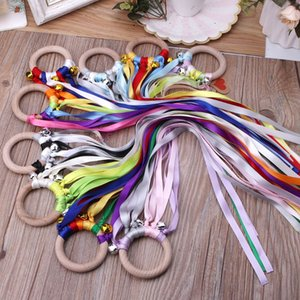 Grid New 100PCS Rainbow Natural Wooden Ribbon Rattle Ring Baby Teether Newborn Montessori Style Sensory Toy Shower Gift 25cm 50cm with Bells