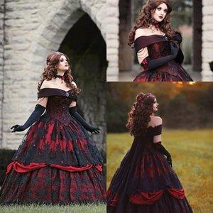Gothic Belle Rot-Schwarz-Spitze Brautkleid Vintage-Lace-up Korsett Steampunk Dornröschen weg von der Schulter plus Größen-Brautkleid