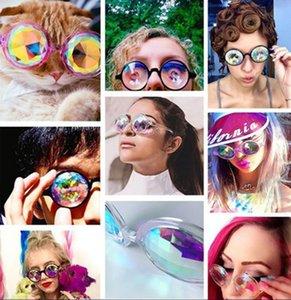 Партия мода игрушка мозаика градиент солнцезащитные очки Женщины UV400 классический старинные пластиковые Калейдоскоп очки мозаика модные солнцезащитные очки 3 цвета