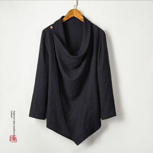 moyenne des hommes de style chinois Windbreaker coton manteau en lin de coton et de lin et long manteau coupe-vent jacquard