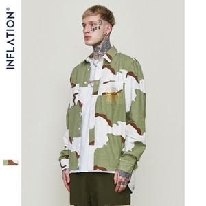 Ropa de hombre INF | Camisa de la calle principal de 2019 camuflaje corto, largo, suelto, marca, hombres, solapa, camisa a cuadros.