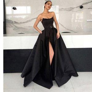 2019 섹시한 검은 색 로우 로우 라인 댄스 파티 드레스 주머니 장식 새틴 드레스 가운