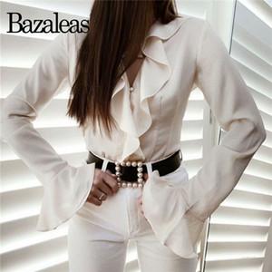 Bazaleas Şık Beyaz V Yaka Ruffles Gömlek Fransa tepelerini womens ve Vintage bluz kadın Şık blusas mujer de moda 2019 bluzlar