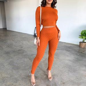 Kış Örme Triko 2 Adet Set Bitki Üst ve Pantolon Kadınlar Seksi Eşleştirme Seti Sonbahar Kadınlar Kıyafetler Orange Suit