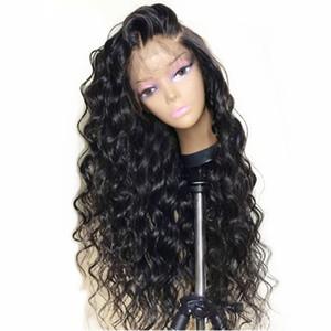Parrucca naturale con profonda scollatura profonda, parrucca nera con pizzi e capelli sintetici per le donne nere