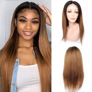 100 % 인간의 머리 4 * 4 레이스 정면 가발 1백80퍼센트 밀도 허니 금발 어두운 뿌리 색 가발