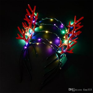 Noël alimentation LED cool bois lumineux Couvre-chef Bandeau Flash Light Halloween concert Fête Spectacle mariage Jouets Coiffe