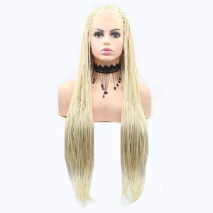 Light Blonde Braid Hair Synthetic Lace Front Wigs For Women Heat Resistant Fiber Hair Wigs Premium Braid Wig For Women