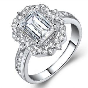 2020 кольца Обручальные кольца Кристалл звенит Показать Элегантный Темперамент ювелирные изделия женские девушки White Silver Filled обручальное кольцо