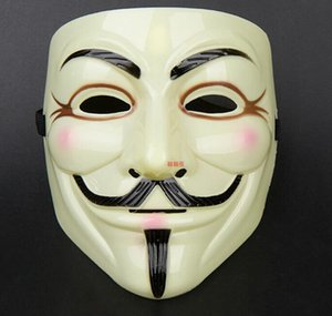 100pcs new arrive V for Vendetta Yellow Mask with Eyeliner Nostril Anonymous Guy Fawkes Fancy Adult Costume Halloween Mask D168