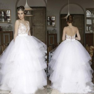 Modest 2018 vestidos vestidos de boda de encaje balón ilusión Back vestidos de novia de tul con gradas de largo vestidos de novia por encargo