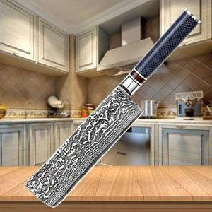 Japonais couteau à légumes Damas 7 pouces Nakiri 67 couches de couteau chef Cleaver