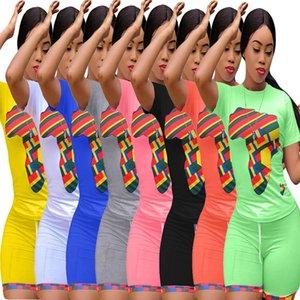 Il formato più che sport 3X estate delle donne abbigliamento sportivo insieme a due pezzi T-shirt manica corta pantaloncini mappa stampa casuale tuta progettista tuta 3198