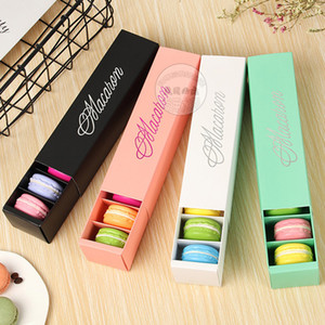 DHL Shipping Macaron Box Cake Boxes Home Made Macaron Chocolate Boxes Biscuit Muffin Box Retail Paper Packaging Black Pink Green