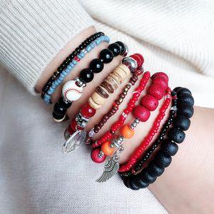 Красочные богемный национальный стиль браслет женщин многослойные эластичные рисовые шарики браслет аксессуары