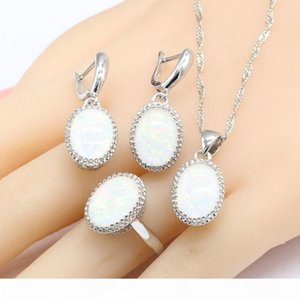 Australia White Opal Stones Silver Color Jewelry Sets For Women Necklace Pendant Drop Earrings Rings Christmas Gift Free Box